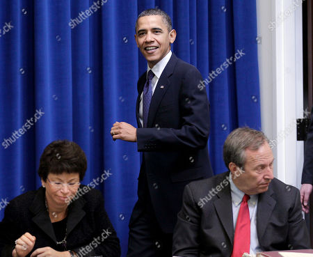 Barack Obama, Lawerence Summers, Valerie Jarrett President Barack Obama arrives for a meeting with the President's Export Council, in the Executive Office Building, on the White House campus in Washington. White House Senior Adviser Valerie Jarrett is seated left, and National Economic Council Director Lawrence Summers is seated at right