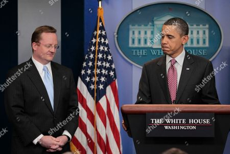 Robert Gibbs, Barack Obama President Barack Obama, right, pasues as he talks about his outgoing White House Press Secretary Robert Gibbs, left, at the daily news briefing at the White House in Washington, Friday, Feb., 11, 2011. Gibbs steps down from the post today, after two years as President Obama's top spokesman. Jay Carney, the current communications director for Vice President Joe Biden, will succeed him at the podium