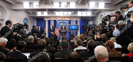 Robert Gibbs, Barack Obama President Barack Obama, center, gestures as he talks about outgoing White House Press Secretary Robert Gibbs, left, at the daily news briefing at the White House in Washington, Friday, Feb., 11, 2011. Gibbs steps down from the post today, after two years as Obama's top spokesman. Jay Carney, the current communications director for Vice President Joe Biden, will succeed him at the podium