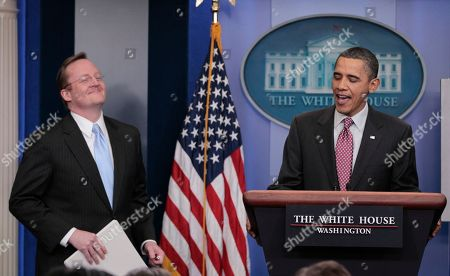 Robert Gibbs, Barack Obama President Barack Obama, right, with White House Press Secretary Robert Gibbs, left, for daily news briefing at the White House in Washington, Friday, Feb., 11, 2011. Gibbs steps down from the post today, after two years as President Obama's top spokesman. Jay Carney, the current communications director for Vice President Joe Biden, will succeed him at the podium