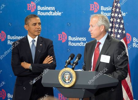 Stock Image of Barack Obama, W. James McNerney, Jr President Barack Obama, left, is introduced by W. James McNerney, Jr., CEO of Boeing, right, before speaking to members of the Business Roundtable, a trade group representing America's big businesses, in Washington. Obama facing a budget showdown with Congress, is pushing his economic agenda to some of the nation's top corporate executives while cautioning Republicans not to precipitate a government shutdown or an unprecedented debt default