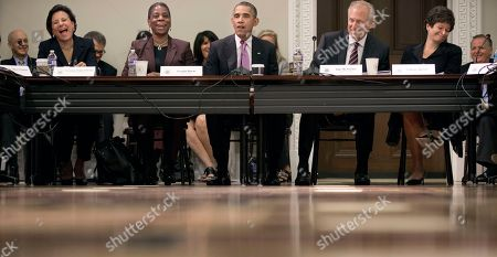 Barack Obama, Jim McNerney, Ursula Burns, Valerie Jarrett, Penny Pritizker President Barack Obama, center, gets a reaction from his comments as he speaks to members of his Export Council during their meeting in the Eisenhower Executive Office Building on the White House complex, in Washington. Seated with Obama are from left are, Commerce Secretary Penny Pritzker, Ursula Burns, CEO of Xerox, Jim McNerney, CEO of Boeing and senior adviser Valerie Jarrett