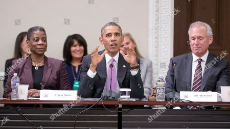 Barack Obama, Jim McNerney, Ursula Burns President Barack Obama, center, speaks to members of his Export Council during their meeting in the Eisenhower Executive Office Building on the White House complex, in Washington, as Ursula Burns, left, CEO of Xerox, and Jim McNerney, right, President and CEO of The Boeing Company, listen