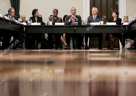Barack Obama, Jim McNerney, Ursula Burns, Valerie Jarrett, Penny Pritzker, Mike Froman President Barack Obama, center, speaks to member of his Export Council during their meeting in the Eisenhower Executive Office Building on the White House complex, in Washington. Seated with Obama are from left to right, Mike Froman, United States Trade Representative, Commerce Secretary Penny Pritzker, Ursula Burns, CEO of Xerox, Jim McNerney, CEO of Boeing and senior adviser Valerie Jarrett