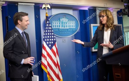 Allison Janney, Josh Carney White House Press Secretary Jay Carney, left, reacts to seeing actress Allison Janney at the podium at the White House Press Briefing Room at the White House in Washington, . Janney was cast member in the role of presidential press secretary C.J. Cregg on the television drama 'The West Wing', for which she eventually won four Emmy Awards