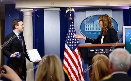 Allison Janney, Josh Carney White House Press Secretary Jay Carney reacts at left to seeing actress Allison Janney at the podium at the White House Press Briefing Room at the White House in . Janney was cast member in the role of presidential press secretary C.J. Cregg on the television drama 'The West Wing', for which she eventually won four Emmy Awards