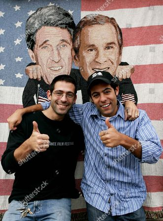 """Stock Photo of SPIRIDELLIS Brothers Evan Spiridellis, left, and Gregg pose at the offices of JibJab Media Inc., in Santa Monica, Calif. The brothers created an online animated Flash video that pokes fun at Sen. John Kerry, D-Mass., and President Bush, with a spoof sung to Woody Guthrie's tune """"This Land is Your Land"""
