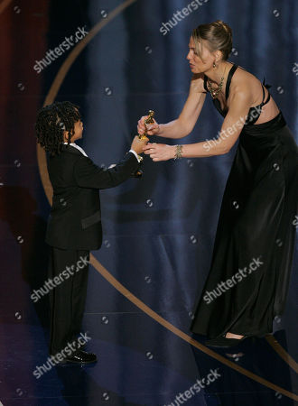 """Jaen Smith Torill Kove Torill Kove accepts the Oscar for best animated short film for """"The Danish Poet"""" from presenter Jaden Smith at the 79th Academy Awards, in Los Angeles"""