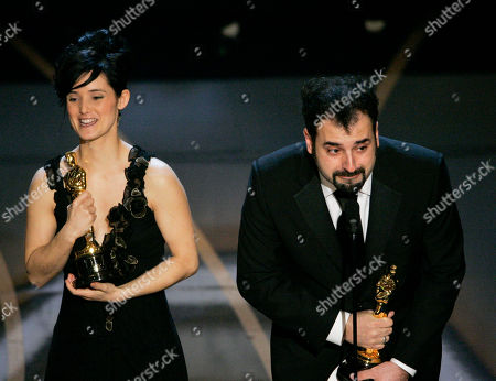 "Stock Photo of Montse Ribe, David Marti SCIENCES FOR USE UPON CONCLUSION OF THE ACADEMY AWARDS TELECAST** Montse Ribe and David Marti accept the Oscar for achievement in makeup for their work on ""Pan's Labyrinth"" during the 79th Academy Awards, in Los Angeles"