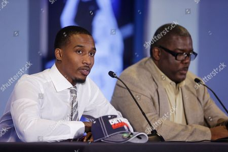 Brandon Jennings, Joe Dumars The Detroit Pistons newest acquisition point guard Brandon Jennings and Pistons President of Basketball Operations Joe Dumars are seen during a news conference at the Palace of Auburn Hills, Mich., where Jennings was introduced to the media, . Jennings comes from the Milwaukee Bucks, who acquired Brandon Knight, Slava Kravtsov and Khris Middleton in a sign-and-trade deal last week. Jennings signed a 3-year, $24-million deal as part of the deal