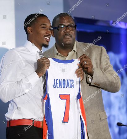 Brandon Jennings, Joe Dumars Detroit Pistons newest acquisition, point guard Brandon Jennings, left, poses with Pistons President of Basketball Operations Joe Dumars after a news conference in Auburn, Hills, Mich