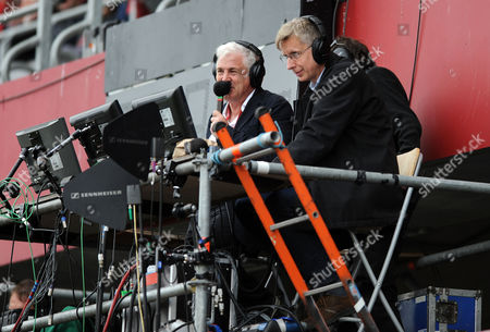 Stock Image of Stuart Barnes - Sky Sports TV rugby presenter (Ex England, British & Irish Lions fly half) and colleague Miles Harrison (R).