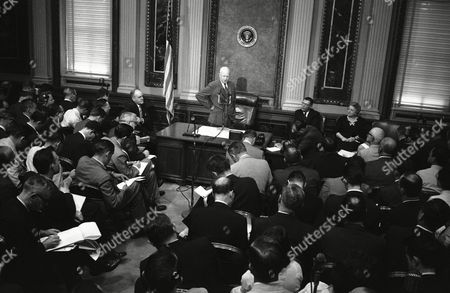 Editorial picture of President Dwight Eisenhower News conference, Washington, USA