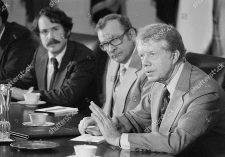 Stock Image of Jimmy Carter, Stephen Duggen President Jimmy Carter presides over a meeting with environmentalists at the White House in Washington on . Seated beside Carter is Stephen Duggan, chairman of the board of National Resources Defense Council