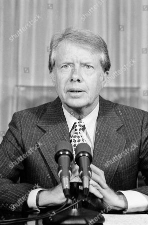 Jimmy Carter President Jimmy Carter meets with reporters at the White House in Washington on to say that he will vote the $10.2-billion public works bill. Carter stated that the measure is wasteful and that the taxpayers are tired of seeing money wasted