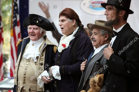From left to right Presidential presenter's Gary Beard, as George Washington, Dale Reynolds, as Thomas Jefferson, Peter Small as Teddy Roosevelt and Robert Broski as Abraham Lincoln, prepare to greet visitors at The Richard Nixon Presidential Library and Museum on in Yorba Linda, Calif