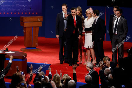 Mitt Romney, Ann Romney, Josh Romney, Craig Romney, Tagg Romney, Matt Romney Republican presidential candidate and former Massachusetts Gov. Mitt Romney stands with wife Ann and sons Josh, Matt, Craig, Tagg and other family members as he reacts to cheers from the audience at the first presidential debate with President Barack Obama in Denver