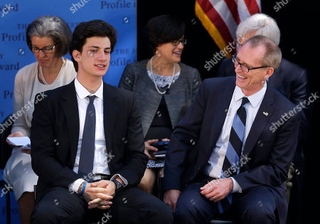 Jack Schlossberg, Bob Inglis Jack Schlossberg, front left, grandson of John F. Kennedy, shares a light moment with former U.S Rep. Bob Inglis, R-S.C., front right, during 2015 Profile in Courage Award ceremonies at the John F. Kennedy Library and Museum, in Boston. Inglis was awarded the prize for reversing his position on climate change