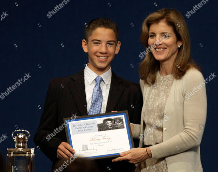 Caroline Kennedy, Kevin Kay Caroline Kennedy, right, presents Kevin Kay, a junior at Walt Whitman High School in Bethesda, Md., with the John F. Kennedy Profiles in Courage Award essay plaque for winning the contest at the JFK Library & Museum in Boston, Monday morning