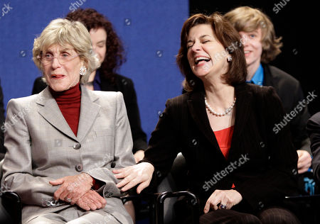 Jean Kennedy Smith, Victoria Reggie Kennedy Former U.S. Ambassador to Ireland and sister of President John F. Kennedy, Jean Kennedy Smith, left, shares a light moment with Victoria Reggie Kennedy, right, wife of the late U.S. Senator Edward M. Kennedy, on stage during the Profiles in Courage Award ceremony at the John F. Kennedy Library and Museum, in Boston