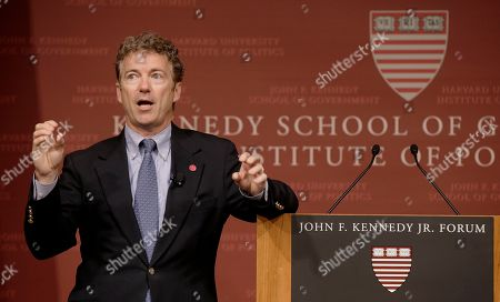 Rand Paul Sen. Rand Paul, R-Ky. gestures as he emphasizes a point during his public address at the John F. Kennedy Jr. Forum Institute of Politics at the Harvard Kennedy School in Cambridge, Mass. Fighting to move beyond his father's shadow, Paul is crafting new alliances with the Republican Party establishment during a Northeast tour that began Friday in Boston. The 51-year-old Kentucky Republican, son of libertarian hero and former Texas Rep. Ron Paul, headlined an afternoon luncheon hosted by top lieutenants of former presidential nominee Mitt Romney _ a private meeting that comes as Paul weighs a 2016 presidential bid of his own