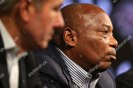 Ozzie Newsome, Dick Cass Baltimore Ravens general manager and executive vice president Ozzie Newsome, right, listens to a reporter's question as he sits next to president Dick Cass during an NFL football news conference at the team's practice facility in Owings Mills, Md., . The team held the news conference to review the 2015 season and discuss the upcoming season