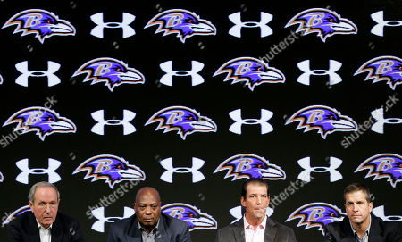 Dick Cass, Ozzie Newsome, Steve Bisciotti, John Harbaugh Baltimore Ravens president Dick Cass, from left, general manager and executive vice president Ozzie Newsome, owner Steve Bisciotti and head coach John Harbaugh listen to a reporter's question during an NFL football news conference, in Owings Mills, Md. The team held the news conference to review the 2014 season and discuss the upcoming season