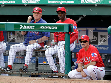 Jackie Moore, Mike Maddux, Ron Washington Texas Rangers bench coach Jackie Moore, from left, manager Ron Washington and pitching coach Mike Maddux, right, during a baseball game against the Boston Red Sox, in Arlington, Texas