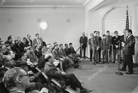 Stock Picture of President Richard Nixon receives Boy Scouts in the White House on in Washington. Standing from right: Scout President Irving Feist, Newark, N.J., Gary Motsek, Belford, NJ; Randolph Roth, Lafayette, Calif.; Mark Jolivette, Jewell, Iowa; John Wigington, Gainesville, Ga.; Randolph, Roundtree, San. Angelo, Tex.; and Chief Scout Executive Alden Barber, New Brunswick, NJ. Seated, back row from next to photographer: Rodney Reeves, Shreveport. La.; William Templeton, Lexington, Ky; and Daniel Dillard, Lancaster, Pa. Front row from right: Dean George, Mt. Edgecombe, Alaska; Bernard Esannason, St. Thomas, V.I.; Roberto Colon, Caparra Heights, P.R..; and Paul Collins, Fargo, N.D