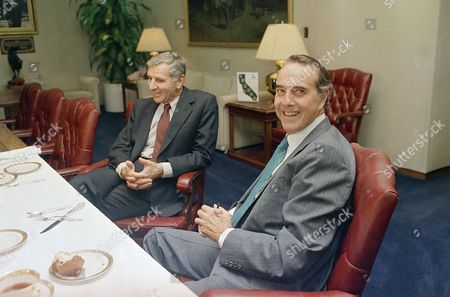 Kansas U.S. Senator Bob Dole and Governor George Deukmejian, left, chat with reporters at the California capitol in Sacramento following a breakfast meeting on . The two Republicans are considered possible vice presidential running mates for presidential hopeful George H.W. Bush