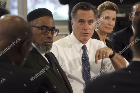 Mitt Romney, Kenneth Gamble, Evie Mcniff Republican presidential candidate, former Massachusetts Gov. Mitt Romney, center, is joined by the Universal Bluford Charter School founder Kenneth Gamble, left, and Evie Mcniff, during a round table discussion at the school, in Philadelphia