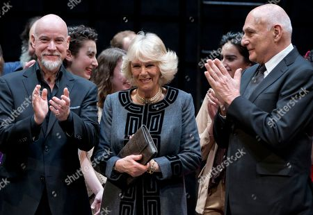 Camilla, the Duchess of Cornwall, Michael Kahn, nthony Warlow Camilla, the Duchess of Cornwall, center, stands on stage with Australian actor Anthony Warlow, left, and Michael Kahn, Artistic Director of the Shakespeare Theatre Company, as they applaud after gathering for a photograph as the Duchess of Cornwall toured the Shakespeare Theatre Company in Washington