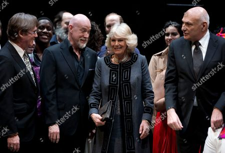 Camilla, the Duchess of Cornwall, Michael Kahn, Anthony Warlow, Richard Thomas Camilla, the Duchess of Cornwall, second from right, stands on stage with American actor Richard Thomas, left, and Australian actor Anthony Warlow, second from left, and Michael Kahn, Artistic Director of the Shakespeare Theatre Company, right, as they gathering for a photograph as the Duchess of Cornwall tours the Shakespeare Theatre Company in Washington