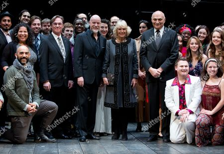 Camilla, the Duchess of Cornwall, Michael Kahn, Anthony Warlow, Richard Thomas Camilla, the Duchess of Cornwall, stands on stage performers including American actor Richard Thomas, Australian actor Anthony Warlow, Michael Kahn, Artistic Director of the Shakespeare Theatre Company, as they gathering for a photograph as the Duchess of Cornwall tours the Shakespeare Theatre Company in Washington