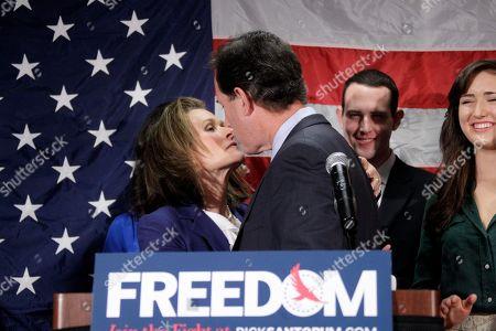 Rick Santorum, Karen Santorum Republican presidential candidate, former Pennsylvania Sen. Rick Santorum kisses his wife Karen, left, after announcing he is suspending his candidacy effective today in Gettysburg, Pa