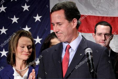 Rick Santorum, Karen Santorum Republican presidential candidate, former Pennsylvania Sen. Rick Santorum turns to his wife Karen, left, after announcing he is suspending his candidacy effective today in Gettysburg, Pa