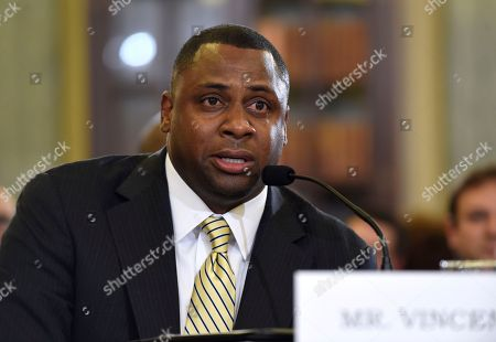 """Troy Vincent National Football League (NFL) Executive Vice President of Football Operations Troy Vincent testifies on Capitol Hill in Washington, before the Senate Commerce Committee hearing on domestic violence in professional sports. Sen. Jay Rockefeller, the West Virginia Democrat who chairs the panel, says he called for Tuesday's hearing because """"until very recently, the leagues' records have not been very good"""" on the issue"""