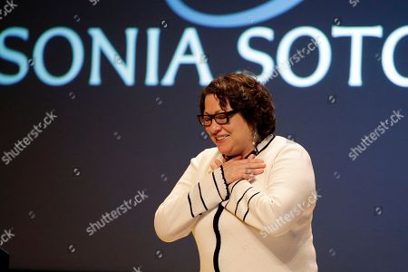 """Stock Picture of Sonia Sotomayor Supreme Court Justice Sonia Sotomayor reacts to applause after speaking at a ceremony where she received Bryn Mawr College's 2015 Katharine Hepburn Medal, in Bryn Mawr, Pa. The women's liberal arts school near Philadelphia honored Sotomayor with the medal, given to women who embody """"the intelligence, drive and independence"""" of the Oscar-winning actress. Hepburn was a 1928 graduate of Bryn Mawr"""