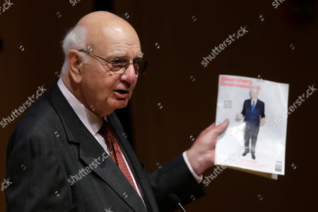 Paul Volcker Former Federal Reserve Bank Chairman, Paul Volcker speaks about former President Bill Clinton on the cover of Bloomberg BusinessWeek magazine during a meeting of the State Budget Crisis Task Force at the National Constitution Center, in Philadelphia. The event is designed to bring attention to the eroding financial condition of state governments