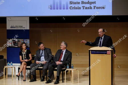 Don Boyd, Jim Douglas, Richard P. Nathan From left, U.S. Treasury Department Undersecretary for Domestic Finance, Mary John Miller, Co-Executive Director, Task Force, Senior Fellow Nelson A. Rockefeller Institute of Government, Don Boyd, former Vermont Gov. Jim Douglas, and task force advisory board member Richard P. Nathan take part in a panel discussion during a meeting of the State Budget Crisis Task Force at the National Constitution Center, in Philadelphia. The event is designed to bring attention to the eroding financial condition of state governments