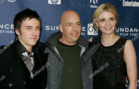 "Stock Picture of Mischa Barton, Reece Thompson, Bob Yari Actor Reece Thompson, left, producer Bob Yari, center, and actress Mischa Barton arrive to the premiere of ""Assassination of a High School President "" in Park City, Utah, on"
