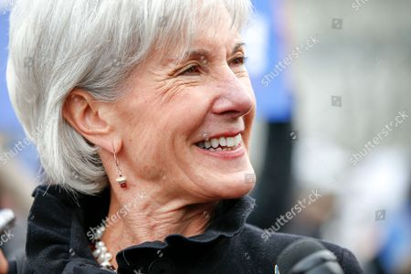 Kathleen Sebelius Former Health and Human Services Secretary Kathleen Sebelius speaks with reporters outside the Supreme Court in Washington, . The Supreme Court heard arguments in King v. Burwell, a major test of President Barack Obama's health overhaul which, if successful, could halt health care premium subsidies in all the states where the federal government runs the insurance marketplaces