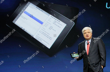 Mike Lazaridis, PlayBook Mike Lazaridis, president and co-CEO of Research in Motion Ltd. (RIM), holds the new PlayBook during the BlackBerry developers conference 2010 in San Francisco, . RIM showed off the tablet for the first time and is set to launch it early 2011, with an international rollout later in the year. The PlayBook has a 7-inch screen, making it half the size of the iPad. And unlike the iPad, it will have two cameras, front and back