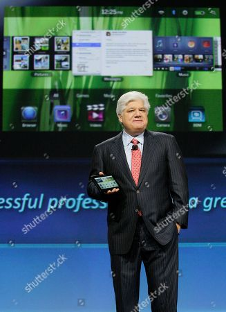 Mike Lazaridis Mike Lazaridis, president and co-CEO of Research in Motion Ltd. (RIM), holds the new PlayBook during the annual BlackBerry developers conference, in San Francisco