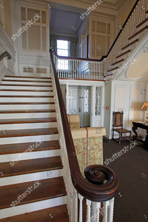 This photo shows the front stairway and pipe organ are seen at the Robert Todd Lincoln mansion Hildene on Monday, Nov. 19, 2012 in Manchester, VT. The Georgian Revival home was built in 1905 by Robert Todd Lincoln, the only one of the president's four children to survive to adulthood