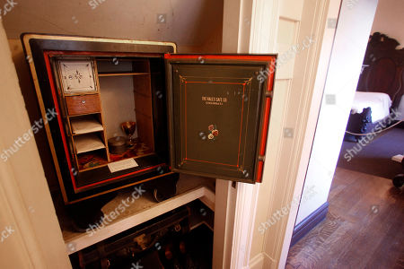 This photo shows the safe in Robert Todd Lincoln's bedroom at the Robert Todd Lincoln mansion Hildene in Manchester, VT. The Georgian Revival home was built in 1905 by Robert Todd Lincoln, the only one of the president's four children to survive to adulthood