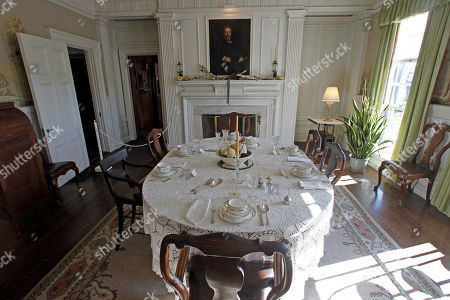 This photo shows the dining room at the Robert Todd Lincoln mansion Hildene in Manchester, Vt. The Georgian Revival home was built in 1905 by Robert Todd Lincoln, the only one of the president's four children to survive to adulthood