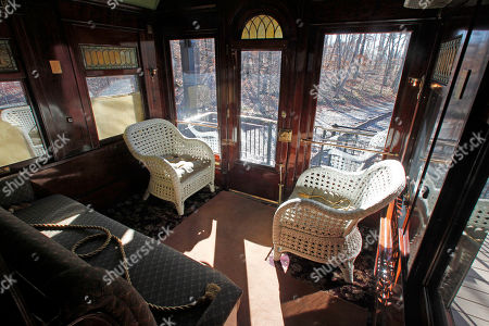 This photo shows the interior of the Pullman car owned by Robert Todd Lincoln is seen at the Robert Todd Lincoln mansion Hildene in Manchester, VT. The Georgian Revival home was built in 1905 by Robert Todd Lincoln, the only one of the president's four children to survive to adulthood
