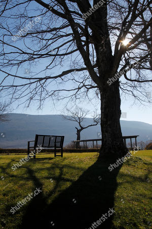 This photo shows a view from the garden at the Robert Todd Lincoln mansion Hildene in Manchester, Vt. The Georgian Revival home was built in 1905 by Robert Todd Lincoln, the only one of the president's four children to survive to adulthood