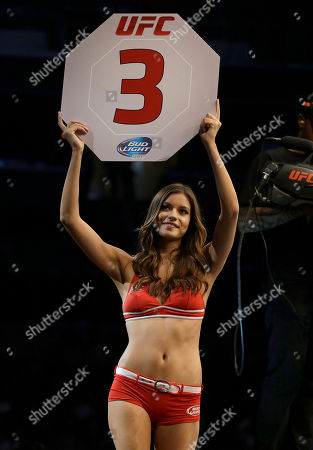 Vanessa Hanson UFC octagon girl Vanessa Hanson is shown during a mixed martial arts bout at a UFC on Fox event in San Jose, Calif